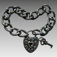 Victorian Chased Bracelet and Sterling Heart Lock and Key
