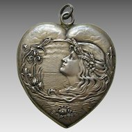 Unger Lady and Water Lilies Large Sterling Heart Locket