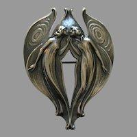 Gorham Art Nouveau Angel Sterling Brooch