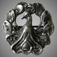 Kerr Antique Peacock Sterling Brooch