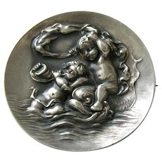 Unger Love's Voyage Large Sterling Brooch