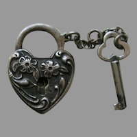 Walter Lampl Floral Sterling Heart Lock and Key