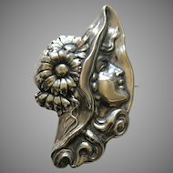 Art Nouveau Lady and Hat Sterling Brooch