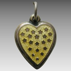 "Vintage Yellow Enameled Stars ""Wayne"" Sterling Heart Charm"