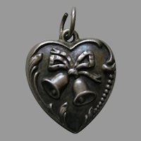 """Vintage Bell """"Lois"""" Sterling Heart Charm"""