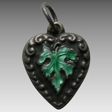Vintage Enameled Green Leaf Sterling Heart Charm