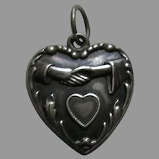 "Vintage Clasped Hands Heart ""Edith"" Sterling Heart Charm"
