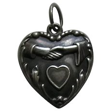 """Vintage Clasped Hands Heart """"Edith"""" Sterling Heart Charm"""