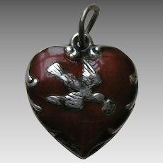 "Vintage Burnt Orange Enameled Bird and Letter ""Sis"" Sterling Heart Charm"
