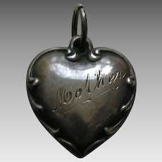 "Vintage Scroll Edge ""Mother"" Sterling Heart Charm"