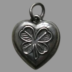 "Vintage Shamrock ""Mother"" Sterling Heart Charm"