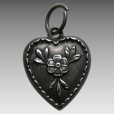 "Vintage Forget-Me-Not ""Mag"" Sterling Heart Charm"