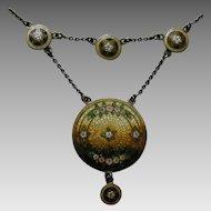 Antique Richard Hemsley Enameled Canadian Sterling Festoon Necklace