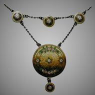 Antique Richard Hemsley Enameled Canadian Sterling Festoon Necklace