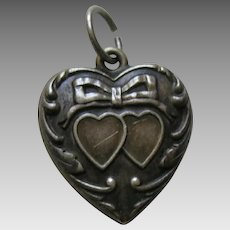 Vintage Double Heart and Bow Sterling Heart Charm