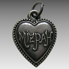 Antique Mizpah Sterling Heart Charm