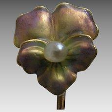 Art Nouveau Iridescent Enamel Pansy 14k Stickpin