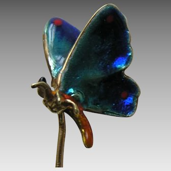 Antique Enameled Butterfly 14k Gold Stickpin