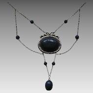 Carl Hermann Jugendstil Enameled Lapis/Sodalite Festoon  Necklace