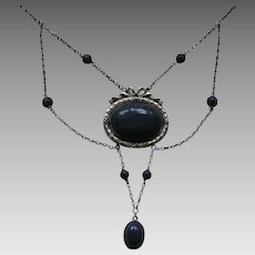 Carl Hermann Jugendstil Enameled Lapis/Sodalite Festoon  Necklace