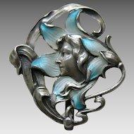 Art Nouveau Enameled Lady in Flower Silver Watch Brooch
