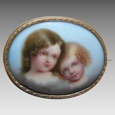 Victorian Porcelain 14k Brooch