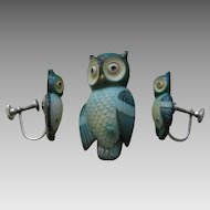 Toshikane Owl Brooch and Earrings