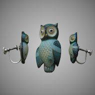 Toshikane Owl Brooch and Earrings