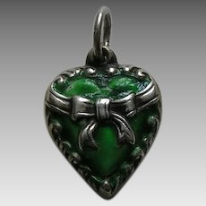 "Vintage Green Enameled Bow ""Irene"" Sterling Heart Charm"