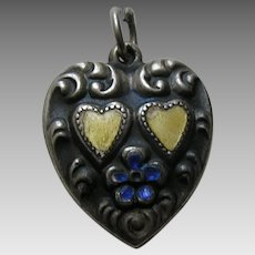 "Vintage Yellow and Blue Enameled Large Double Heart ""Inez"" Sterling Heart Charm"
