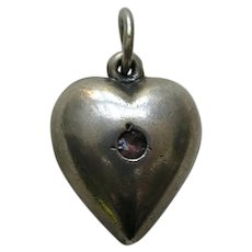 """Vintage Amethyst Paste Extra Puffy """"Daddy""""  Sterling Heart Charm"""