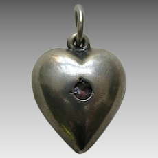 "Vintage Amethyst Paste Extra Puffy ""Daddy""  Sterling Heart Charm"