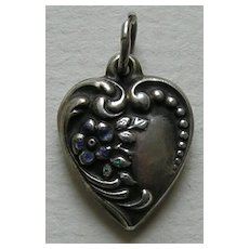 "Vintage Enameled Flower ""Ma"" Sterling Heart Charm"