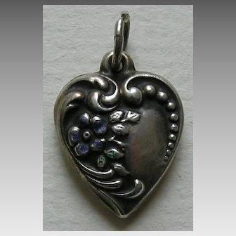 "Vintage Enameled Flower ""Ma"" Sterling Heart Charm"