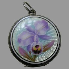 European Enameled Orchid Silver Locket