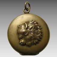 Antique Buffalo Gold Plated Locket