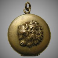Antique Buffalo Gold Plated Locket
