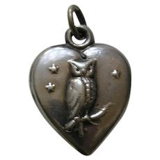 """Antique Owl """"Emmy"""" Sterling Heart Charm"""