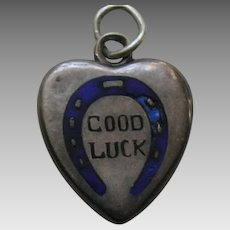 Antique Enameled Good Luck Horseshoe Sterling Heart Charm