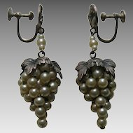 Vintage Faux Pearl Grape Sterling Earrings