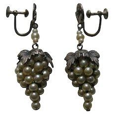 Vintage Faux Pearl Grape Sterling Earrings