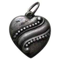 Vintage Swirl Sterling Heart Charm