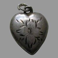 "Vintage Etched Flower ""Mother"" Sterling Heart Charm"