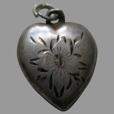 "Vintage Etched Flower ""Mother"" Sterling Heart Charm"