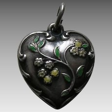 "Vintage Enameled Yellow Flower ""NMB"" Sterling Heart Charm"