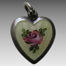 Vintage Enameled Pink Rose Sterling Heart Charm