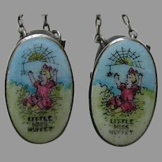 Vintage Little Miss Muffet Sterling Bib Clips