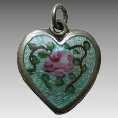 "Walter Lampl Enameled Pink Rose ""David"" Sterling Heart Charm"