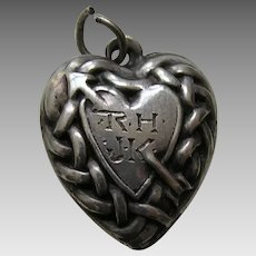 "Vintage Heart and Arrow ""RH JK"" Sterling Heart Charm"