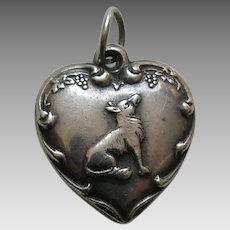 "Vintage Fox and Grapes ""Beverly"" Sterling Heart Charm"
